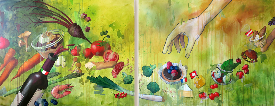 """Acryl auf Leinwand, für das Restaurant """"Fine Fingerfood"""" in Berlin"""